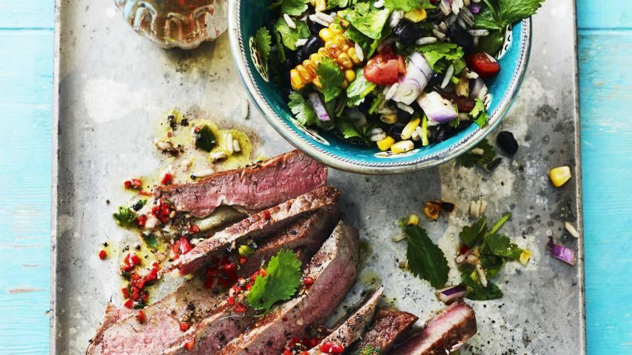 Rindersteak mit Kräuter-Reis-Salat